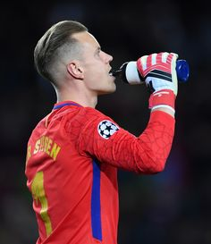 Marc-AndrŽ ter Stegen of Barcelona in action during the quarter final first leg UEFA Champions League match between FC Barcelona and AS Roma at Camp Nou on April 4, 2018 in Barcelona, Spain.