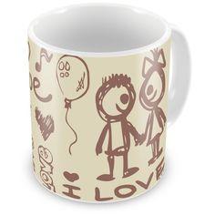 Caneca Porcelana Personalizada Bonequinhos I Love - ArtePress | Brindes Personalizados, Canecas, Copos, Xícaras