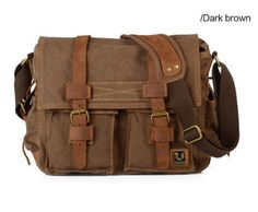 Image of Deep Coffee Canvas Leather Camera Bag Leisure Shoulder Bag Messenger Bag DSLR Camera Bag Canvas Messenger Bag, Messenger Bag Men, Leather Camera Bag, Leather Crossbody Bag, Canvas Leather, Cow Leather, Waxed Canvas, Ipad Bag, Laptop Shoulder Bag