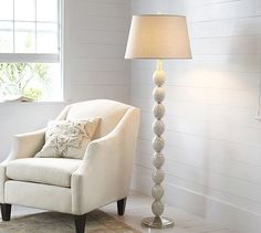 Livingroom light?  is it versatile enough to go in other rooms? Jolie Mother-of-Pearl Floor Lamp Base #potterybarn