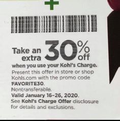 Kohls 30% OFF Coupons Code plus Free Shipping January 2019 Kohl's is offering an Extra 30% Off Your Order when you apply promo code FAVORITE30 at checkout and pay with your Kohl's Charge Card. They also offeri... Kohls, Coupon Codes, 30th, Coupons, January, How To Apply, Coding, Free Shipping, Coupon