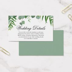 Modern Nature Shades of Green  Leaves Wedding Business Card Custom Office Retirement #office #retirement