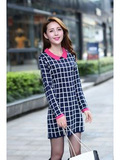Gordania Blue Checked Bodycon Dress #Dress