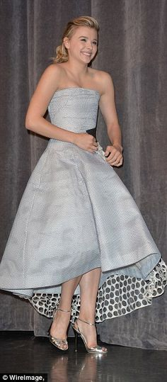silver shoes and funky dress.