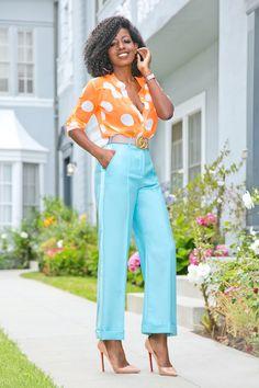 Neon Polka Dot Shirt + Tuxedo Ankle Length Pants