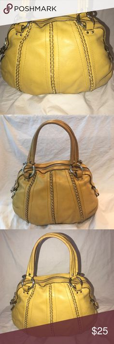 B. Makowsky Smaller Leather HandBag w Chains Cute yellow leather purse with nickel hardware and chain accents. It has a main zip pocket with purple satin lining. It has a wall zip pocket with a slip pocket in front of that. It shows Wear and several soiled spots on the outside. The inside is clean.  It measures about 9 inches in height, 13 inches in length, 6.25 inches by 3 inches deep at the bottom, and the strap drop is about 6.5 inches. b. makowsky Bags Mini Bags