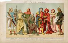 Ca1890 Costume Medieval Antique Chromolithograph Print Greil | eBay