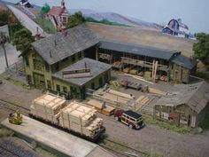 """Railroad Line Forums - The Gallery: Nov. """"The Auto Show - Part N Scale Model Trains, Model Train Layouts, Scale Models, Ho Scale Train Layout, Escala Ho, Ho Scale Buildings, Road Pictures, Ho Trains, Model Building"""