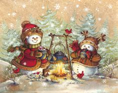 Warm Cocoa by Janet Stever ~ Christmas ~ winter ~ snow people