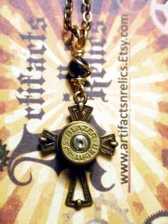 Bullet Jewelry Necklace Military Police Blazer Two Tone Gold & Silver Bullet… Bullet Casing Jewelry, Bullet Necklace, Bullet Art, Bullet Shell, Jewelry Crafts, Jewelry Art, Jewelry Design, Cool Necklaces, Jewelry Necklaces