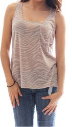 Taupe Animal Print Sleeveless Top with Side Pocket