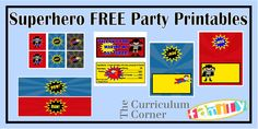 FREE Superhero Party Printables for your son's birthday party.  Includes water bottle labels, treat toppers, candy bar wrappers and more.