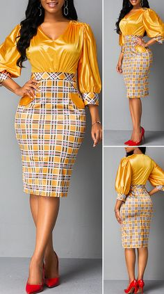 Plaid Print Back Zipper Lantern Sleeve Sheath Dress HOT SALES 2019 beautiful dresses pretty dresses holiday fashion dresses outfits dress cute dresses. Short African Dresses, Latest African Fashion Dresses, African Print Fashion, African Fashion Ankara, Latest Fashion, Traditional African Clothing, African Attire, Outfits Dress, Fashion Outfits