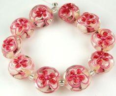 Lampwork-Handmade-Glass-Crystal-Beads-Pink-Flower-Lentil-Jewelry-Making-Craft
