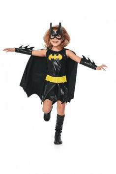 Crime-Fighting Cutie  Ghouls, goblins and villains of all kind be warned: Batgirl is on the case! Decked in her batdress, gloves, boot toppers and mask, she's a knock-out crime-fighter. ($40 at Chasing Fireflies)