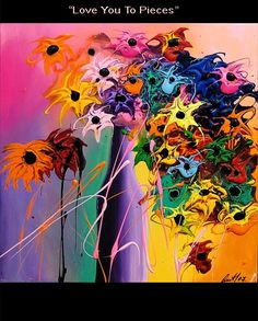 Retro+Abstract+Art+Flower+Paintings | Modern Floral Painting - Love You to Pieces
