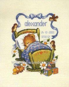 Buy Boys Birth Sampler Cross Stitch Kit Online at www.sewandso.co.uk
