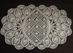 Crochet doily oval pineapple doilie ecru by Draiguna on Etsy