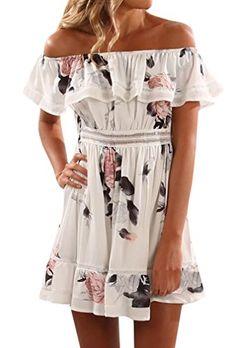 32971ebe0c1 Red Floral 2017 Summer dress off shoulder Ruffles Slash neck print A-lined  mini dress fashion women dresses