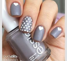 Gray with white polka dots