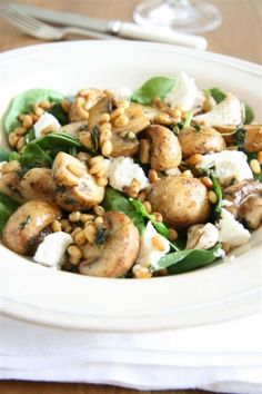 Warm Mushroom Pine Nut Chevre And Spinach Salad Spinach And Cheese, Spinach Salad, Baby Spinach, South African Recipes, Ethnic Recipes, Just Cooking, Wok, Potato Salad, Salad Recipes