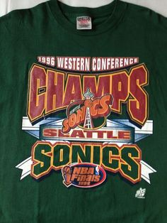 Vtg NBA Seattle Super Sonics T Shirt Mens XL 1996 Western Conference Champs | eBay $15