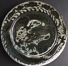 Huge Midnight Carved Dragon Platter by Miranda Thomas