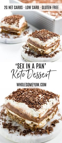 Sex in a Pan Dessert Recipe (Sugar-free, Low Carb, Gluten-free) - Learn how to make sex in a pan dessert - easy and sugar-free! And, this chocolate sex in a pan recipe is one of the best low carb…More 8 Awesome Keto Diet Friendly Snacks & Treat Recipes Low Sugar Desserts, Low Carb Deserts, Low Carb Sweets, Health Desserts, Low Carb Dessert Easy, Best Gluten Free Desserts, Keto Desserts, Foods Low In Sugar, Atkins Desserts