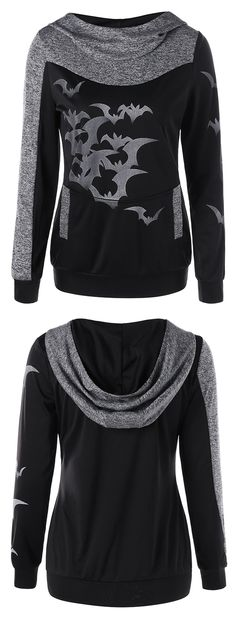 halloween outfits for women:Halloween Bat Print Marled Hoodie
