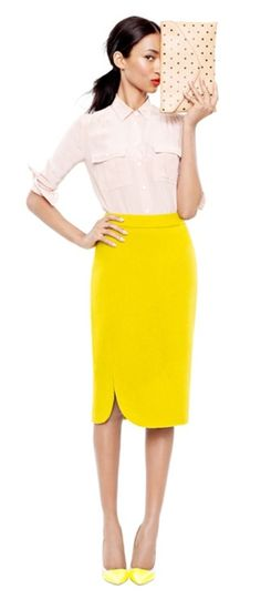 Yellow pencil skirt, nude blouse, nude pump ( instead) with a really bright purse.