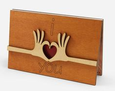 I Love You Card, Cute Anniversary Wooden Cards, Original Wedding Anniversary Gift For Him, Husband, Man, Her, Wife, Woman - Nice Wood Gifts