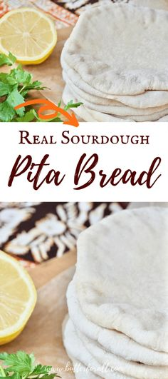 This soft and chewy Real Sourdough Pita Bread is perfect for filling with your favorites. Try hummus and veggies, falafel balls, spicy chicken, roasted lamb, or anything else you can dream up! These long fermented pitas make amazing pita chips too! #realfood #sourdough #starter #pita #bread #fermented #wapf #nourishingtraditions #middleeasternfood #falafel #sandwich #tahini #shawarma