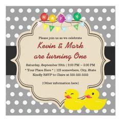 Classy Gray Polka Dots Rubber Ducky Twins Birthday Card