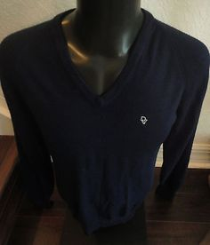 Vintage Christian Dior Mens V Neck Blue Long Sleeve Acrylic Sweater Sz M