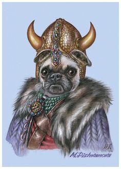 """Pug. The Viking"". Art Print 11.7'' x 16.5''. Painted by Maria Pishvanova for Animal Century Art Collection"