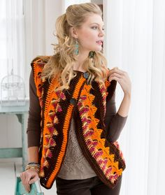 Crochet Trapeze Jacket - Think I would like it better in some jewel tone colors, turquoise, green, etc.