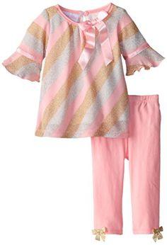 Bonnie Baby BabyGirls Newborn Lurex Knit Bias Stripe Legging Set Pink 36 Months * Visit the image link more details. (This is an affiliate link) #BabyGirlClothingSets