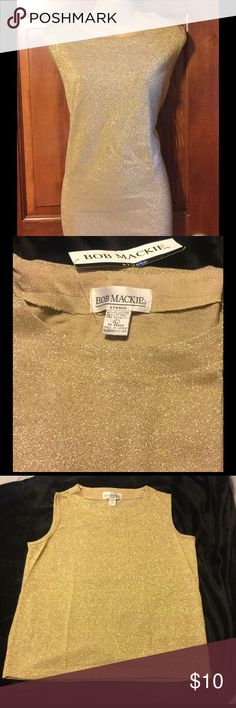 BOB MACKIE STUDIO TOP NWT Gold Bob Mackie Studio sleeveless top.  This is bright gold and sparkly......if that is a word.  The color of the top is more like the color in the last 2 photos. Bob Mackie Studio Tops Tunics