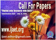 IJAET has become the preferred destination where conference organizers, journal publishers, researchers and academicians come together to issue and receive information resources that encourage presentation and publication of contemporary research. Research, Organizers, Conference, Encouragement, Presentation, Public, Organization, Contemporary, Organisation