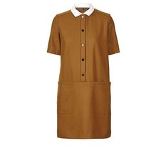 Orla Kiely: Easy fit felted wool short sleeved dress with front popper closure and concealed pockets. Detachable contrast coloured grid eyelet collar. Dry clean only.    Length: 93cm (high shoulder point)