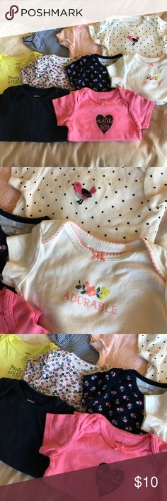 Carter's onesie 9 month bundle Carter's - 9 short shelve and 1 long shelve onesies. Long sleeves is the white with light pink dots. 10 onesies total Carter's One Pieces Bodysuits