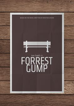 """Iconic image from the film """"Forrest Gump"""" from which the titled character narrates large parts of the film to various passersby. Not sure of the background colour for this poster however. Forrest Gump, Minimal Movie Posters, Minimal Poster, Simple Poster, Cinema Posters, Poster Minimalista, Alternative Movie Posters, We Are The World, Film Music Books"""