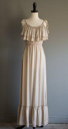 Boho Ruffle Maxi Dress S-M - $32