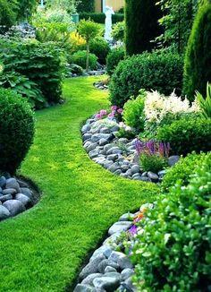 River Rock Border Garden Amusing Landscaping Idea ...