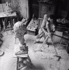 "Giacometti's studio .... we can see the ""stick man"" model for the sculpture that is (IX.2013) the most expensive sculpture ever sold"