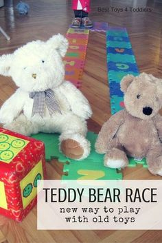 Best Toys 4 Toddlers - Teddy Bear Race - simple way to make old toys interesting again, and add brain break and movement to every day! #besttoys4tots #playideas #grossmotorskills #rainydayactivities #ideasforkids Bears Preschool, Toddler Preschool, Toddler Activities, Indoor Activities, Teddy Bear Crafts, Teddy Bear Day, Teddy Bears, Bears Game, Bear Theme