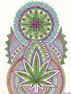 Weed Leaf Mandala Art Print