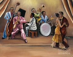 Music Poster featuring the painting Midnight Jazz by Toni Thorne