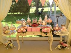 A lace themed vintage candy buffet by Sweet & Pretty