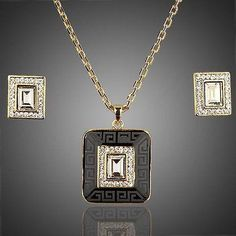 Rectangle Stellux Crystal Hoop Earrings and Pendant Necklace Set  #rings #fashion #dresses #earrings #women #khaista #womensfashion #jewelry #necklace